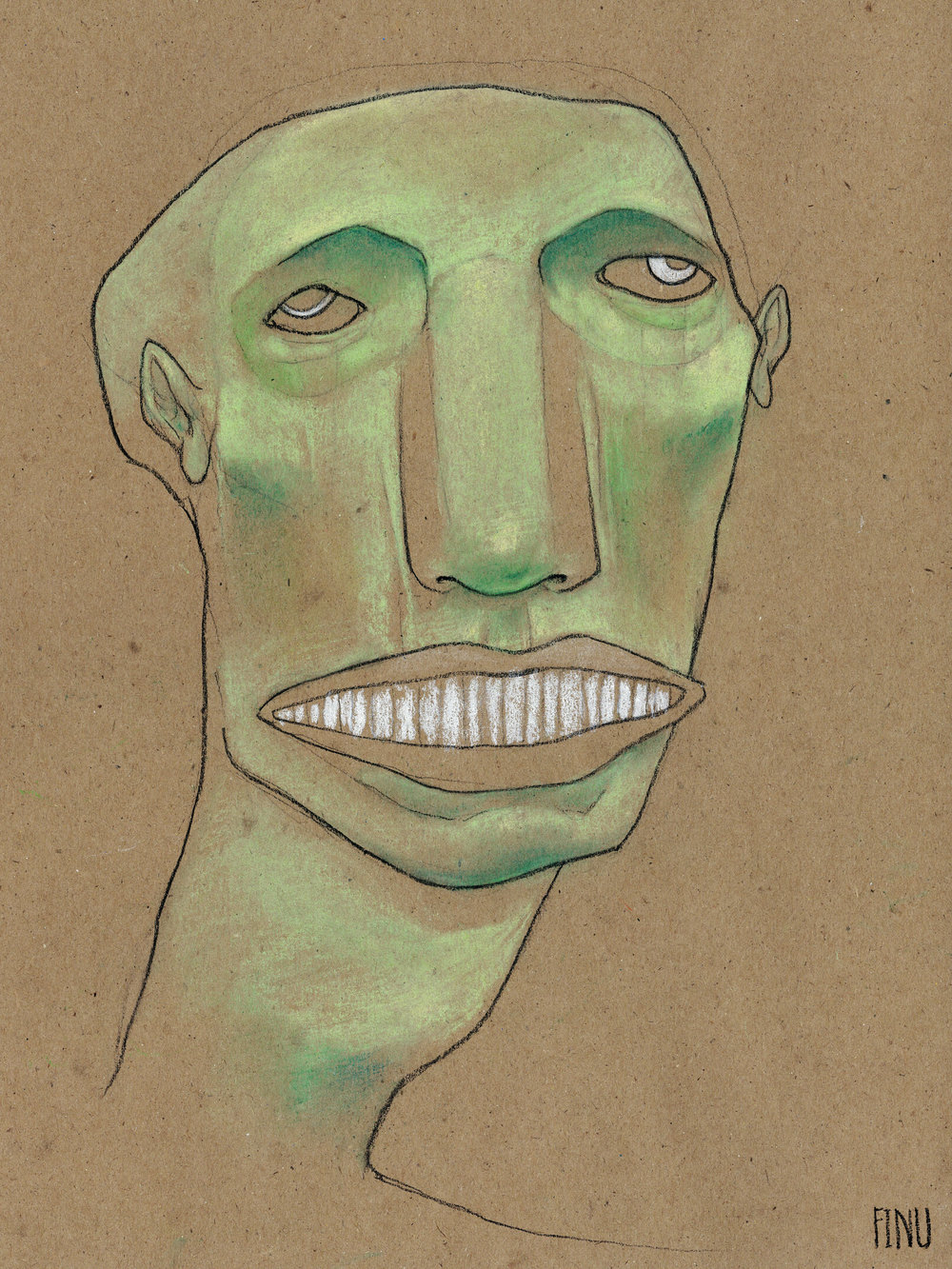 "GREEN PORTRAIT  Charcoal and pastel on kraft paper, 9 x 12"", 2017"