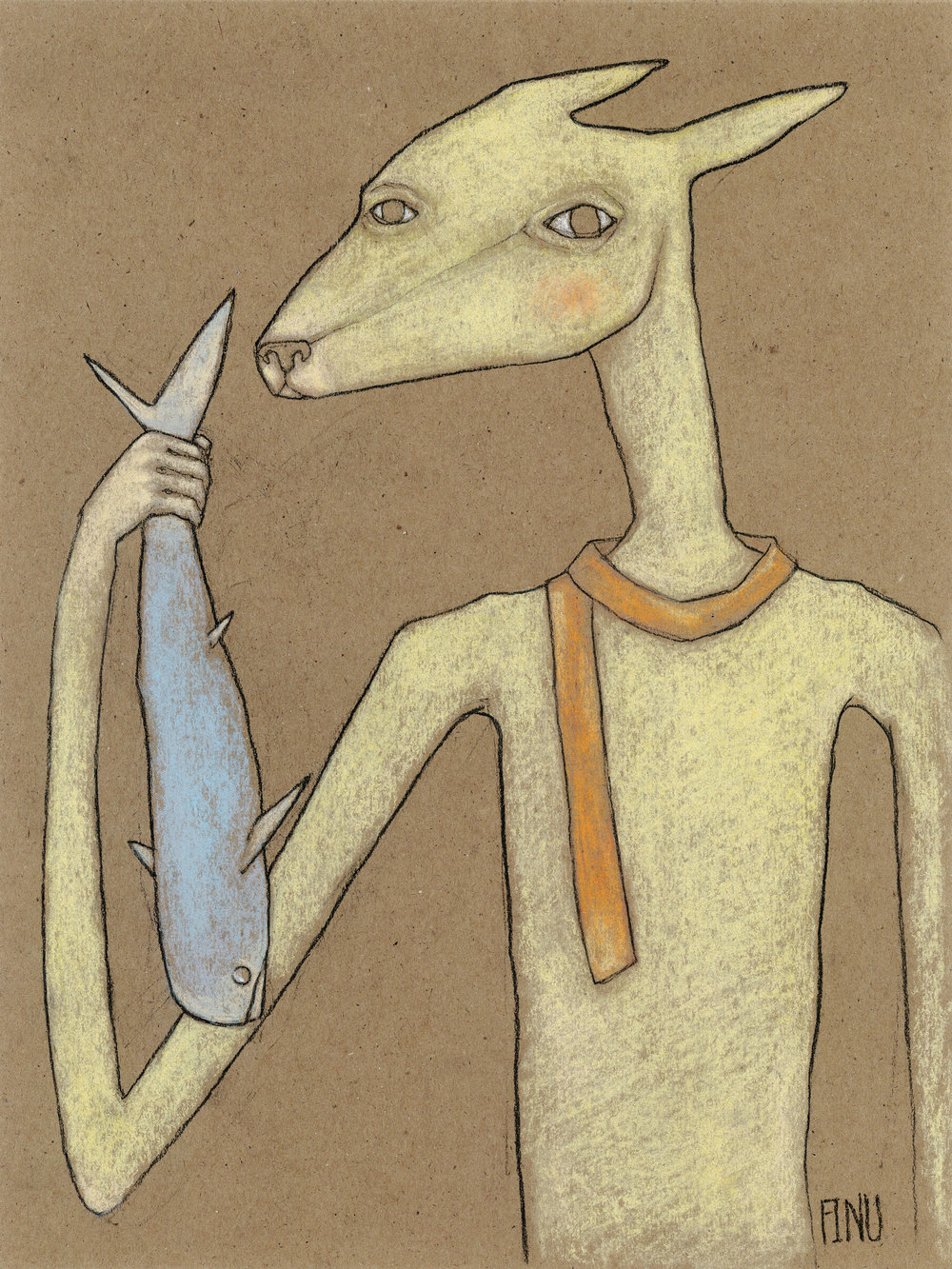 "LE CADEAU  Charcoal and pastel on kraft paper, 9 x 12"", 2017"