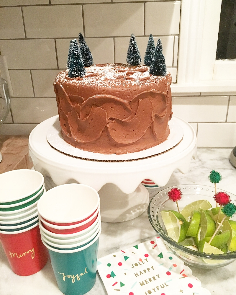 Favorite Things Party with the girls. Cake from   Edgar's   and I added the little trees from Target!