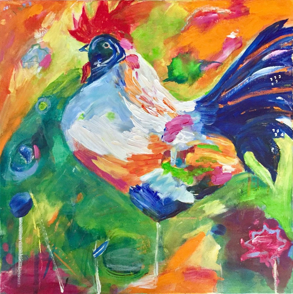 "Mr. Rooster, acrylic on gallery wrap canvas, 16"" x 16"""
