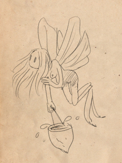 A faerie carrying water with an acorn pail