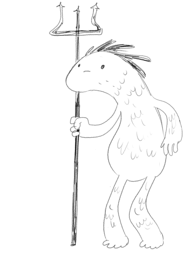 A creature of Skash, holding their trademark golden fork.