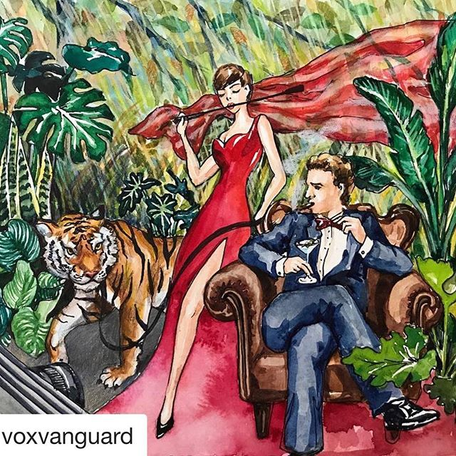 "(📸: #Repost @voxvanguard) The stunning illustration of ""The Unattainable"" @brits Afterparty in partnership with Tempus immersive photobooth by @voxvanguard resident artist @euginasong 🌴🐯• • • • #illustration #immersiveart #bespoke #design #rousseau #painting #production #uniqueevents #londonart #luxurylifestyle #travel #couture #redcarpet"