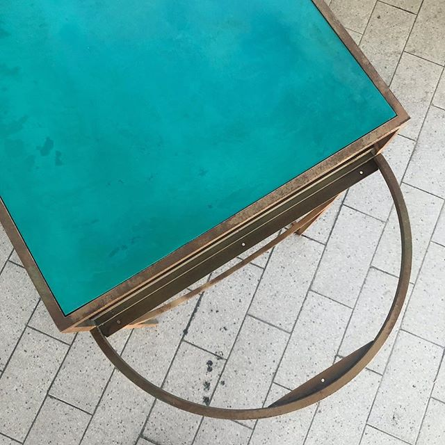 Work In Progress | Celeste Beauty Console. . . . #LaraBohinc #BohincStudio #DressingTable  #Vanity #console #copper #metalwork #verdigris #craftsmanship #texture #interiordesign #art  #contemporary #contemporaryart #design #furniture #vanitytable
