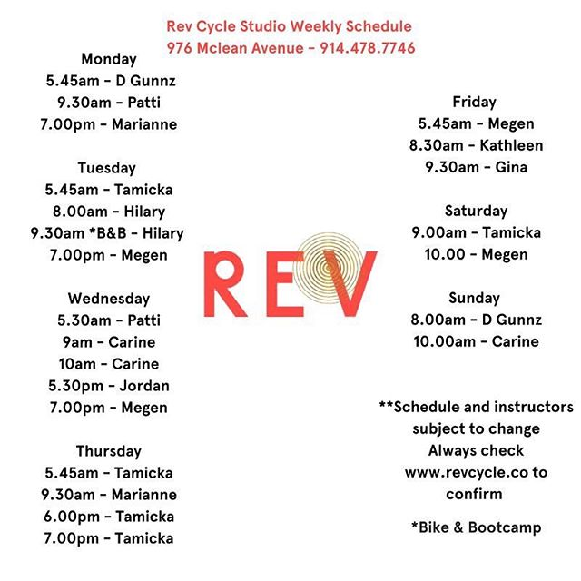 Check out our schedule, lots of classes to #revitup !  Book your bike @ www.revcycle.co 🚴🏼♀️🚴🏼♂️