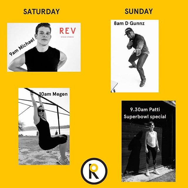 Come to Rev this weekend - we've got 4 great instructors for you to choose from or you could do all 4!!! 🤣 Special mention to Patti's 9.30am Superbowl special class, all songs will be from past epic halftime show performers. Wear your Super Bowl team jerseys and get that sweat in before the big game. www.revcycle.co  #revitup #michael #megen #vitaminDride #patti #superbowlsundayspecial
