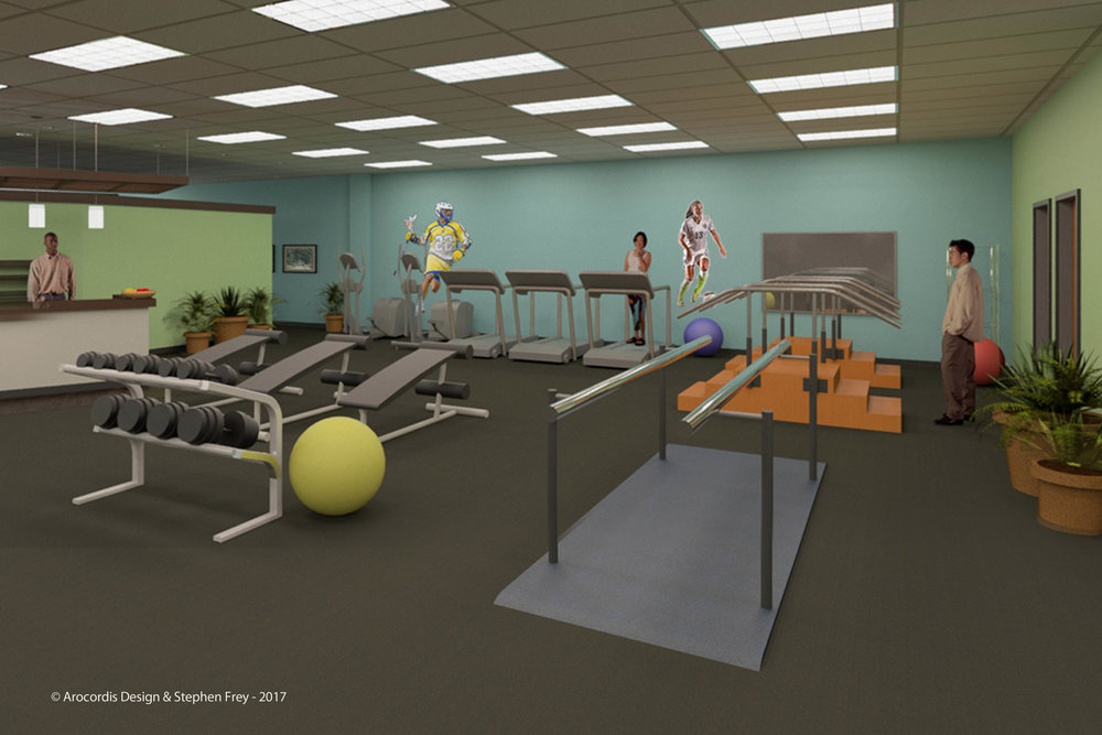 Rendering view of therapeutic workout area and gym