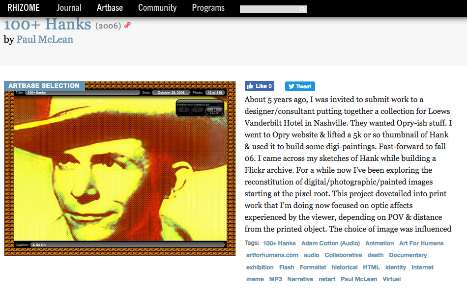 100 Hanks at Rhizome Artbase (2001-06)