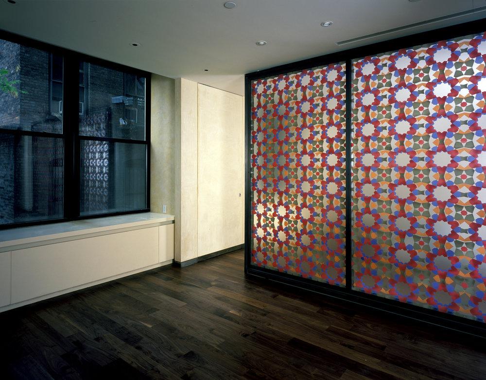 Hand silk-screened double-glass panels, New York
