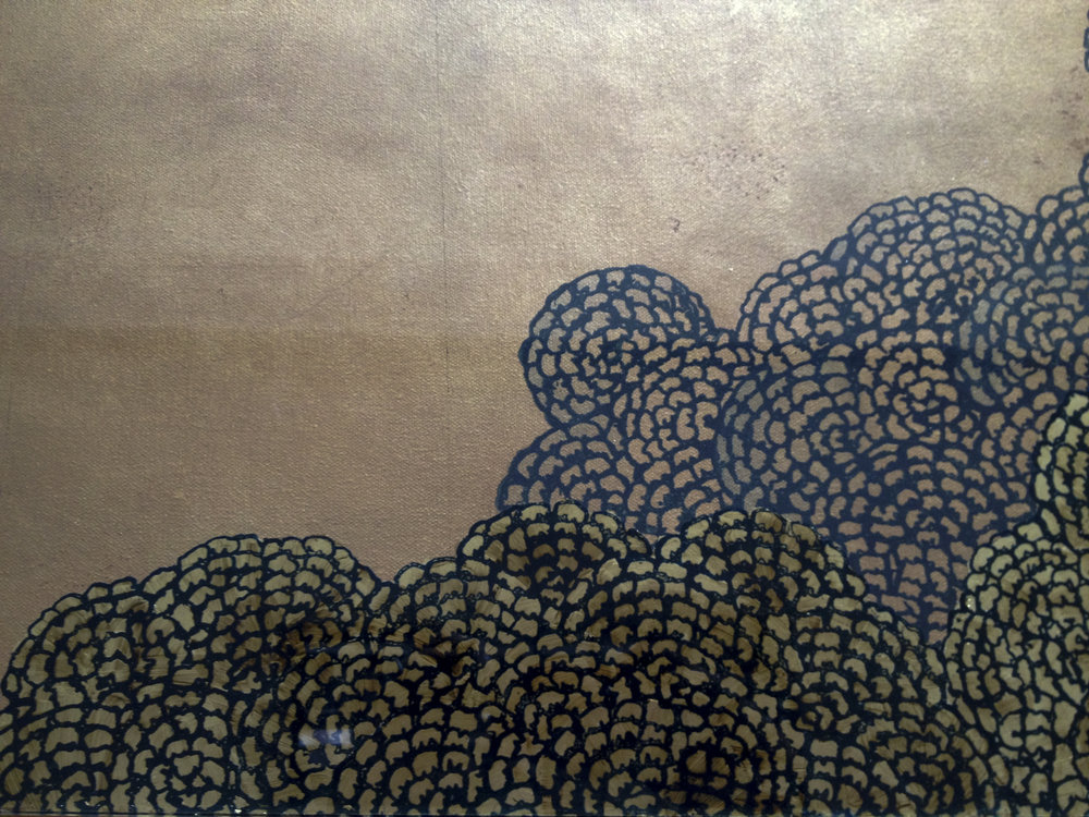 Detail of Hydrangea flowers printed on gold leaf