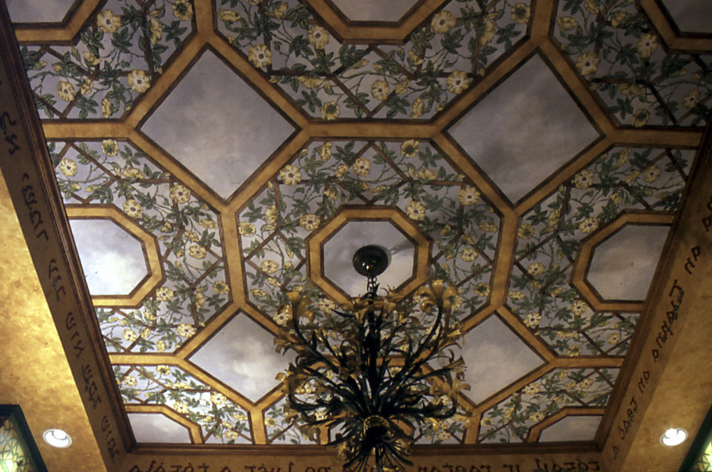 Trompe-l'œil ceiling painting inspired by William Morris, New York
