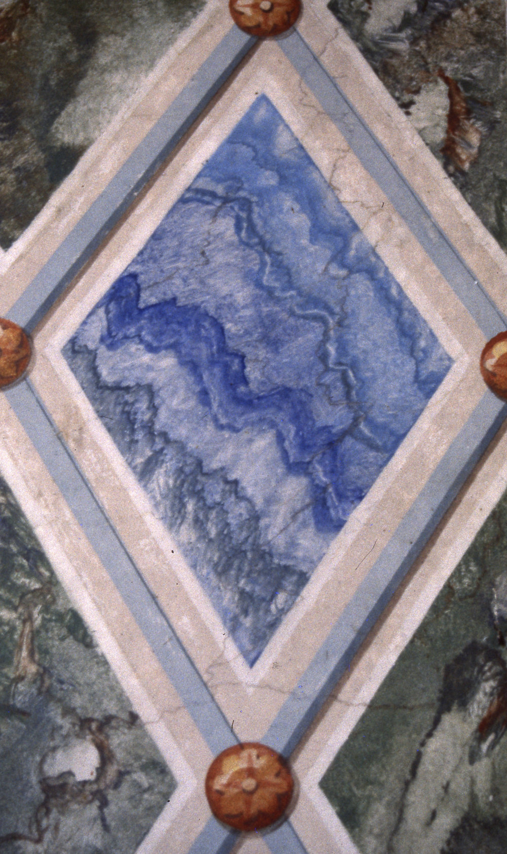 Detail of faux marble painted on Botticino