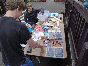Students working on solar panel project.