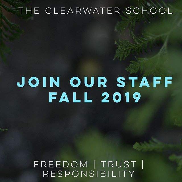 """We're hiring! ⠀⠀⠀⠀⠀⠀⠀⠀⠀ - ⠀⠀⠀⠀⠀⠀⠀⠀⠀ What does being a staff member at Clearwater entail? The responsibilities range from administrative tasks, to cleaning up unsightly messes, to site maintenance. Perhaps most importantly, staff at Clearwater are passionate and engaged individuals who are committed to youth rights and freedoms. ⠀⠀⠀⠀⠀⠀⠀⠀⠀ - ⠀⠀⠀⠀⠀⠀⠀⠀⠀ We refer to the adults at schools as """"staff"""" rather than """"teachers"""" because at Clearwater we acknowledge that learning happens everywhere all the time and that information is best absorbed when initiated and pursued by the learner themself. So, instead of teaching formal classes; staff act as mentors, facilitators, friends, peers, and responsible examples. ⠀⠀⠀⠀⠀⠀⠀⠀⠀ - ⠀⠀⠀⠀⠀⠀⠀⠀⠀ Do we still have your interest? Check out the link in our bio to see the full job description. ⠀⠀⠀⠀⠀⠀⠀⠀⠀ - ⠀⠀⠀⠀⠀⠀⠀⠀⠀ - ⠀⠀⠀⠀⠀⠀⠀⠀⠀ - ⠀⠀⠀⠀⠀⠀⠀⠀⠀ #seattlejobs #bothelljobs #youthrights #youthfreedoms #sudburyschool #freetolearn #alteducation"""