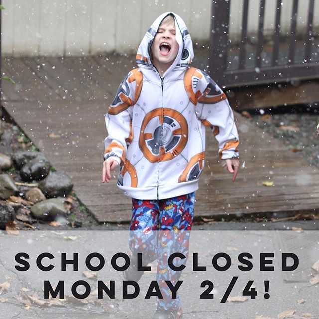 The Clearwater School is closed today, Monday 2/4, due to snow and road conditions.  Enjoy the snow day, a novelty for us Washingtonians!