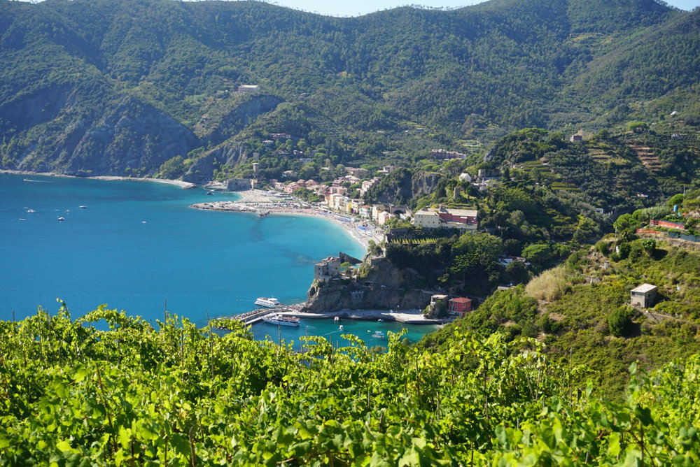 View of monterosso (cinque terre) from one of the hiking paths that connects the villages