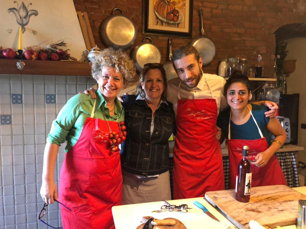 me, giuseppina, luca & antonella, giuseppina's cooking school, certaldo. A DAY WITH THIS BUNCH IS ALWAYS FUN.
