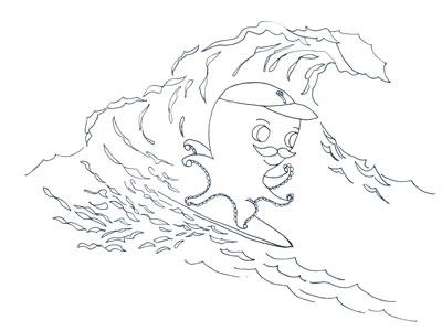 Monsieur Pierre surfs