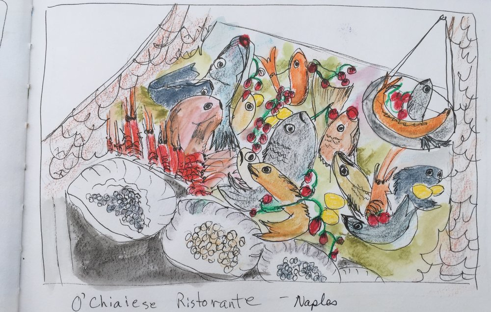 Sketchbook: fish display, O'Chiaiese Ristorante, Napoli