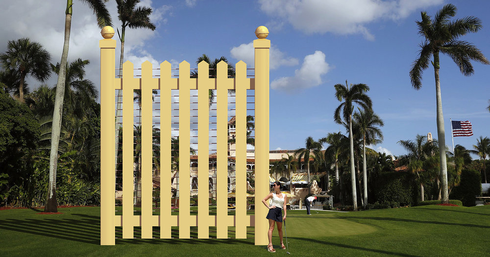 Border wall prototype at Mar-a-Lago (Mr. Trump in background).