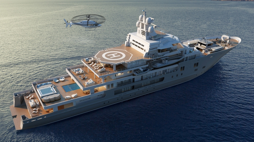 ULYSSES YATCH - Ulysses is a 107 m lurxury motor yacht. She was built by Kleven in 2016.Ulysses is equipped with full commercial helicopter deck and Matre has delivered DIFFS.