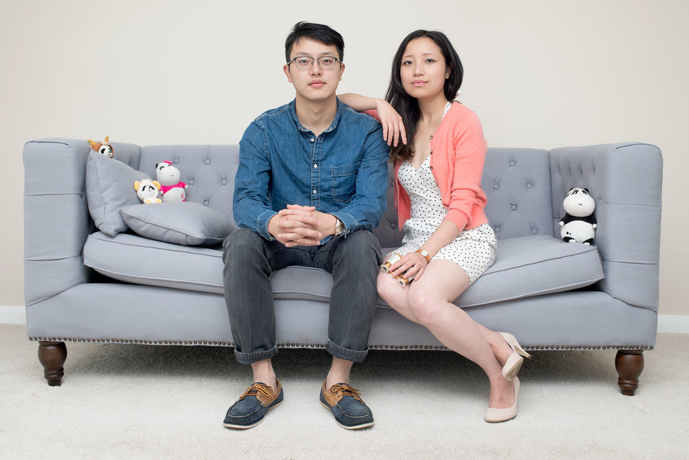 Maolin Liao and Lin Sun. They came to Aberdeen from Langzhong, Sichuan in China to study. I photographed them in their flat, which they bought for the period of study. They are getting married soon and are planning to return to China after finishing their PhDs.