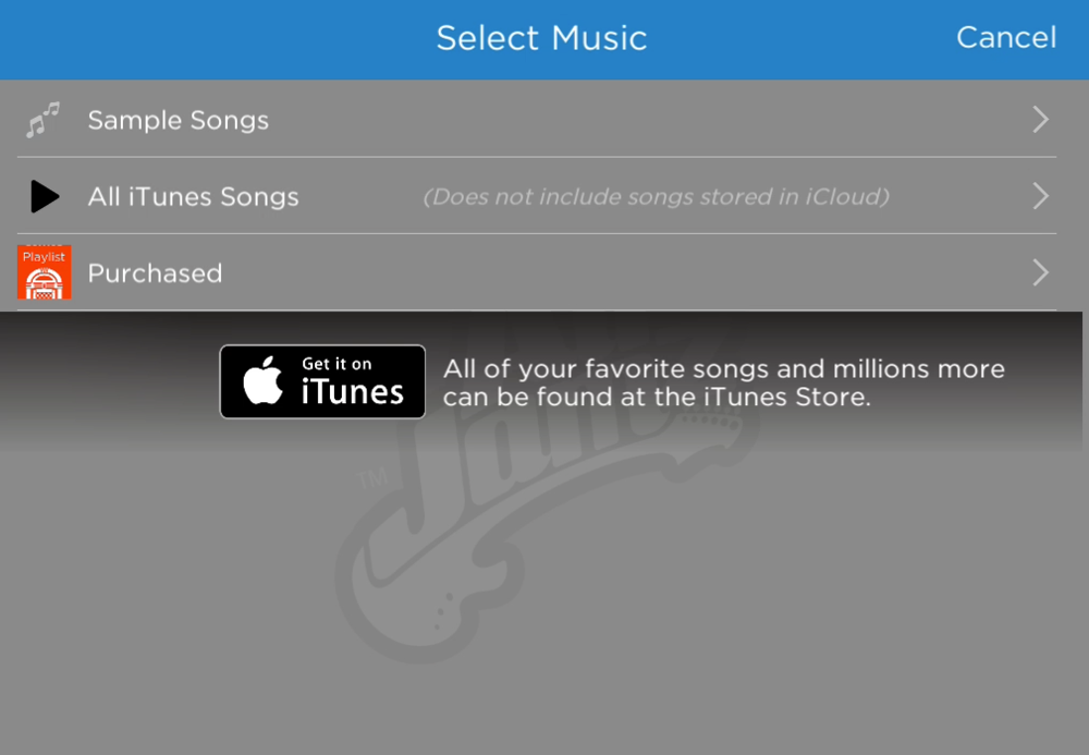 Play any song from your music library, or download new songs from the iTunes store!