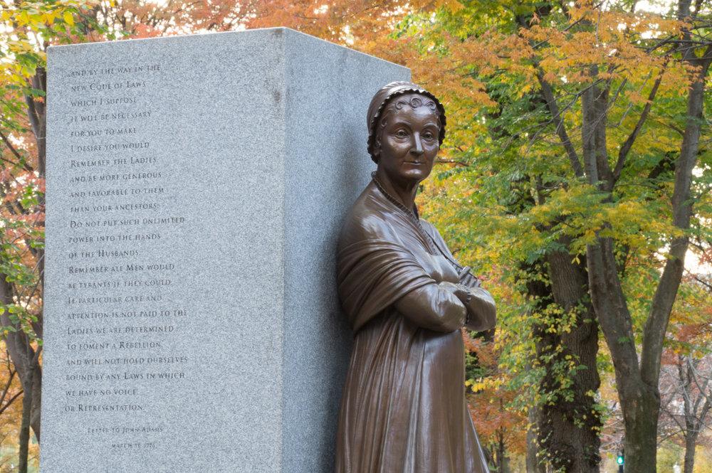 Abigail Adams statue on campus