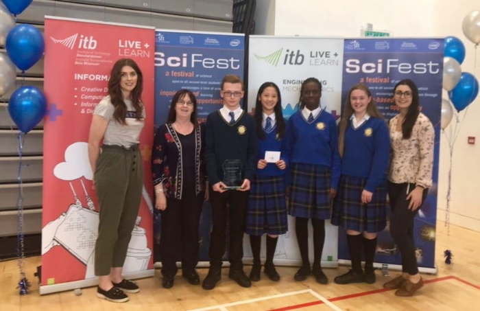 We had great success at Scifest@college competition today. We won three awards:  Ella White, Grace Ging and Loveth Festus (all 1A4) came 3rd place in the Junoir Life Sciences category. Zac Reid came 2nd in the Intermediate Physical Science and Technology category.  Zac also won the overall Intel Technology Award.  Other students representing Kishoge CC and did an excellent job presenting their projects to the judges were as follows:  Marcin Witkowski, Jeric Antony, Dylan Gilchrist, Denis Ulici, Andrei Buda,  John Okafu, Kacper Ledzinski, Laura Taraskeviciute, Julia Matijya.