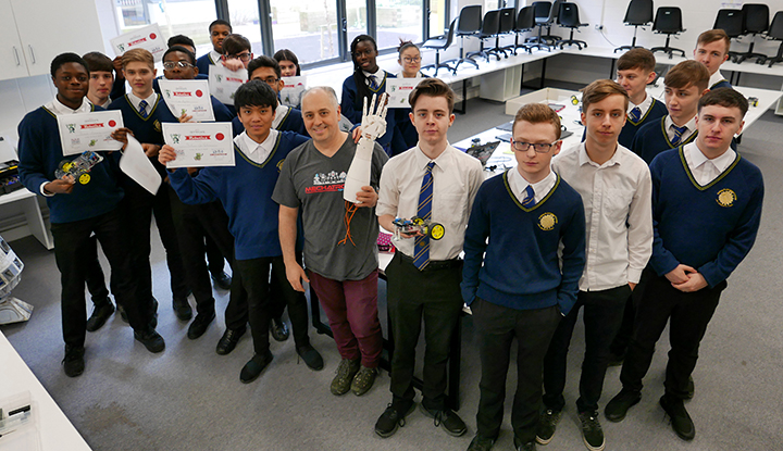 Engineers Week 2019.  Dr Peter rEDMOND AND THE 5TH YEAR ENGINEERING CLASS SHORTLY AFTER THE COMPLETION OF THEIR 'rOBOTICS mASTER cLASS'.