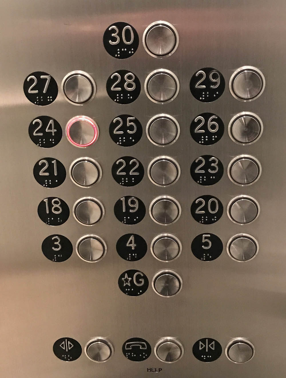 7 out of 8 elevators' panel look like this