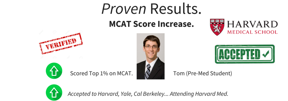 Verified MCAT results and scores for one of our pre-med students.