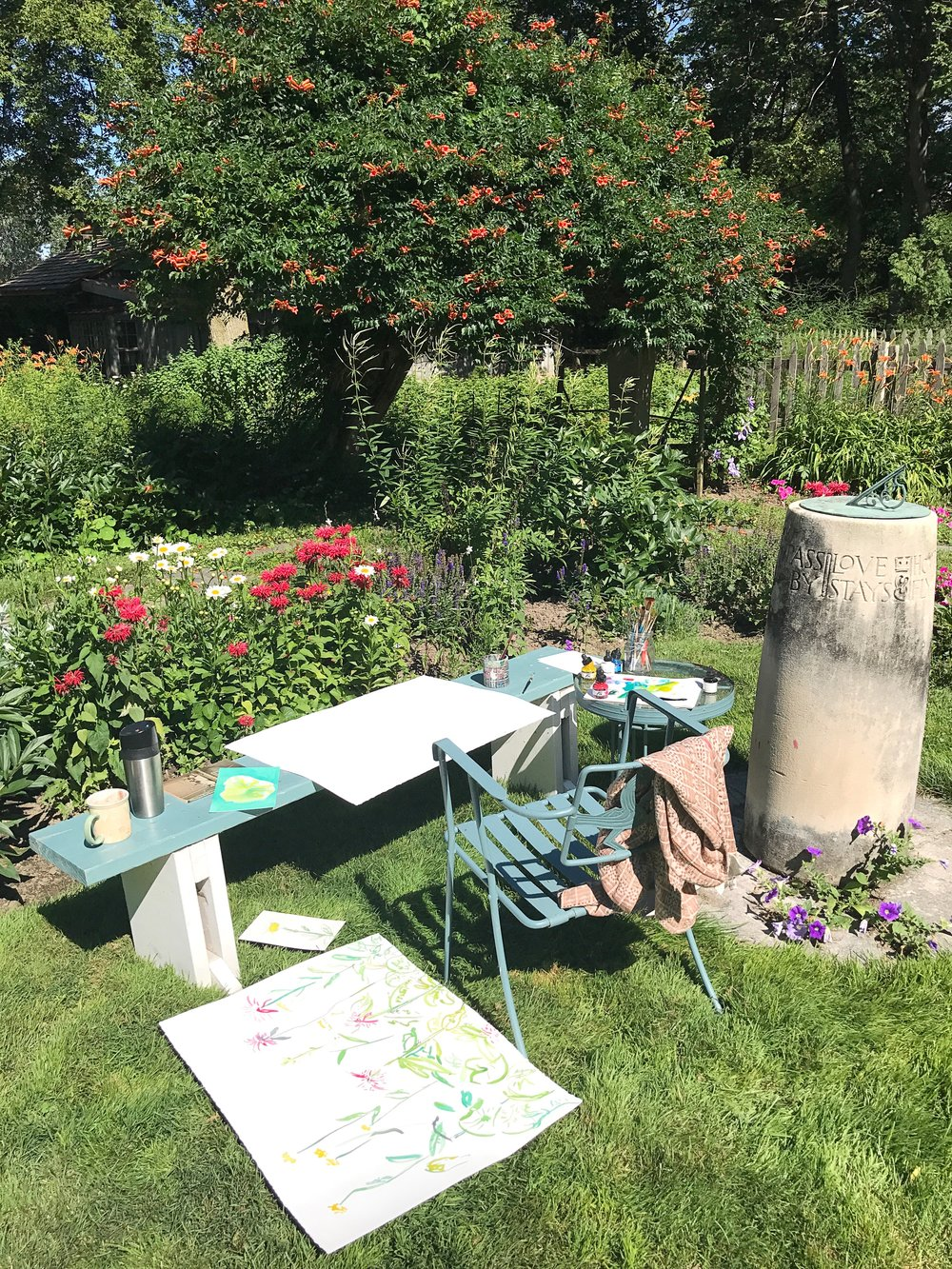 A morning spent painting in the garden. The sundial, designed by Shaw, has this verse inscribed around it: Hours Fly, Flowers Die, New Ways, New Days, Pass By, Love Stays