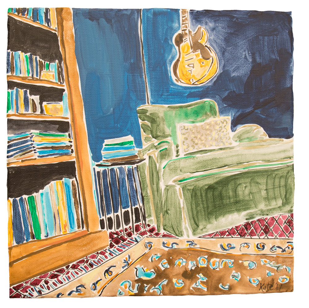 - My favorite cozy reading space.... right under one of Allen's guitars surrounded by windows with huge beautiful trees waving from outside. -Holly Hester @hollyfhester from Tennessee