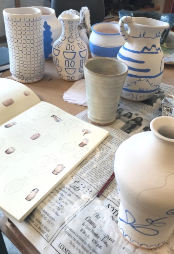 A look at my sketchbook and vases being painted at Ewell Farm Studio