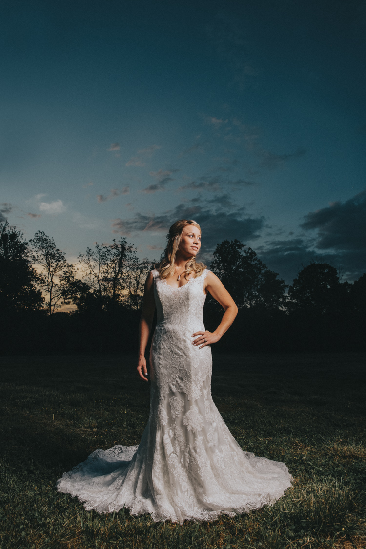 epic sunset at triad area venue during bridal session