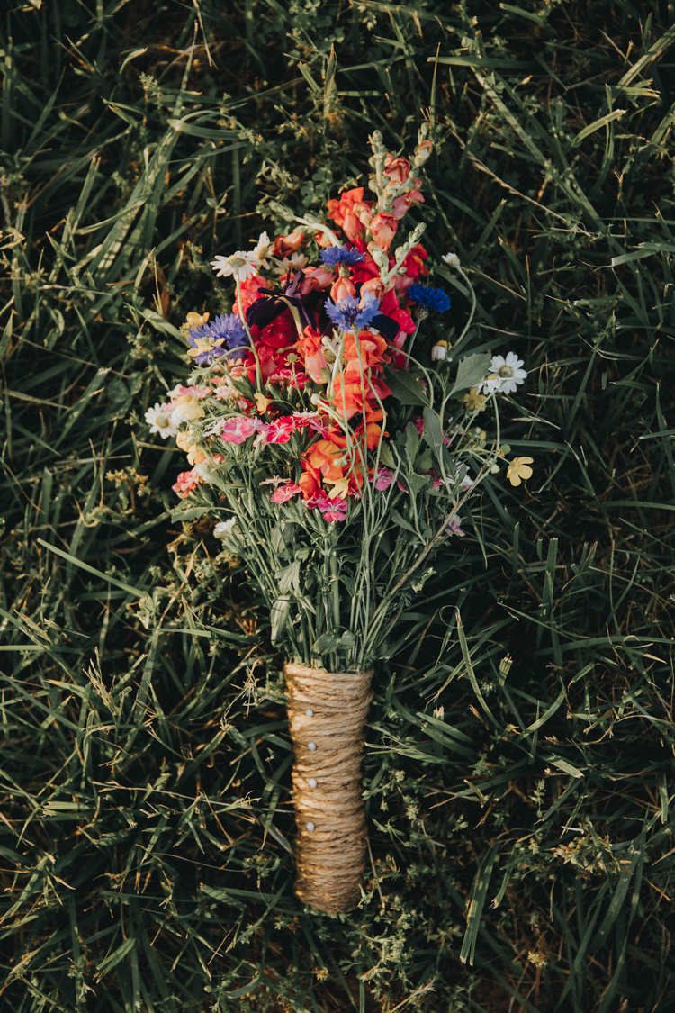 wild flower bouquet wrapped with burlap