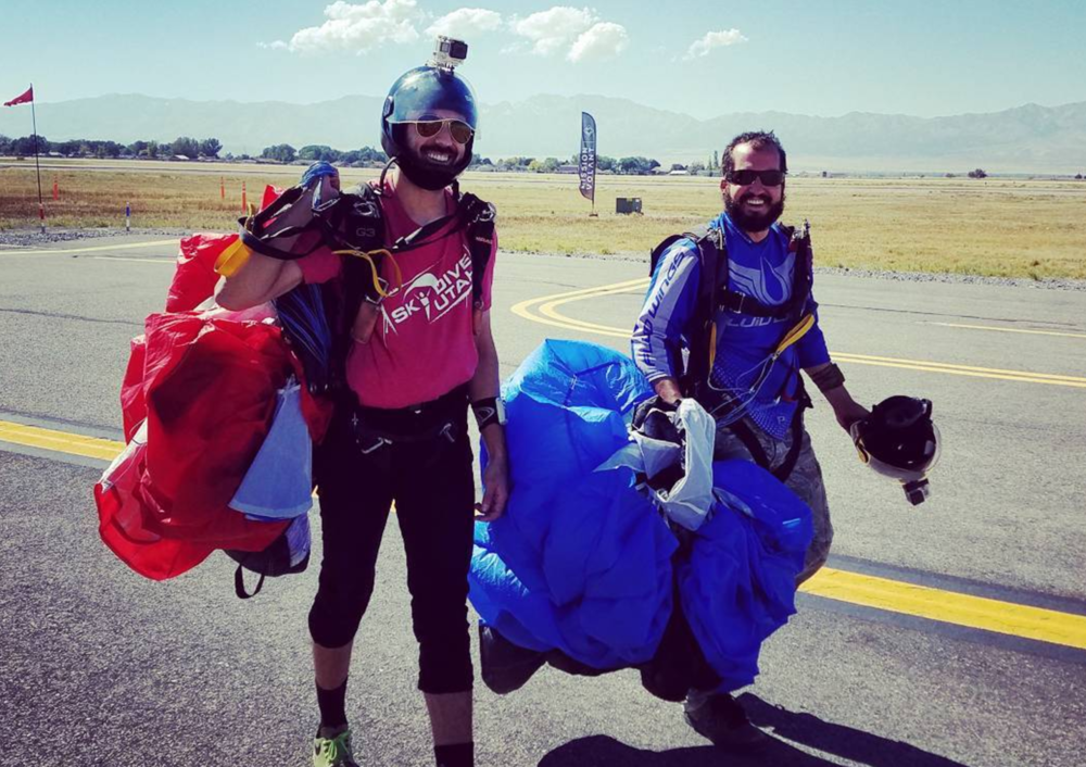 Marc Warren (left) and Mike Chapman (right) after their first skydives as the new owners of Skydive Utah.