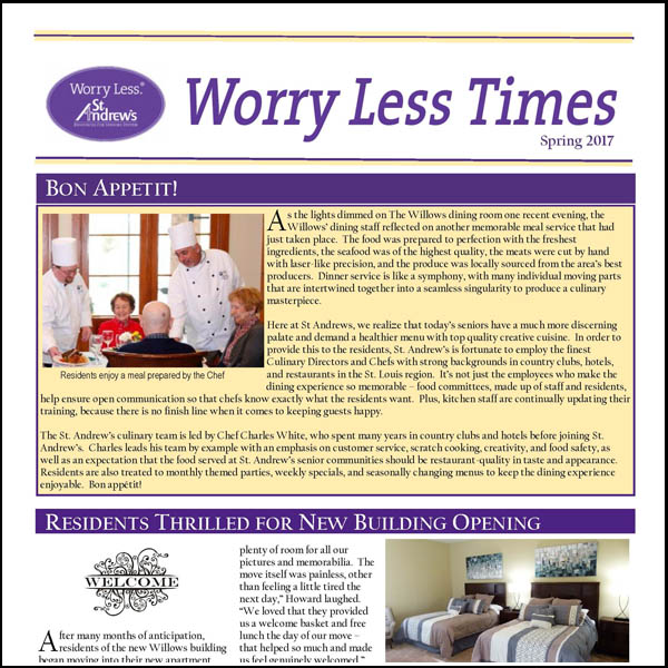 Worry Less TImes: Spring 2017 Edition Our Seasonal Publication, highlighting news around St. Andrew's and our communities, Enjoy! (PDF)