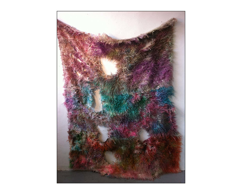 Anna Betbeze, Atropa, 2011, Wool, acid dyes, watercolor, ash. 60 x 30""