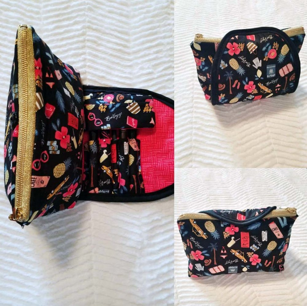 First makeup bag with brush I sew using the pattern I altered from Soseweasy.
