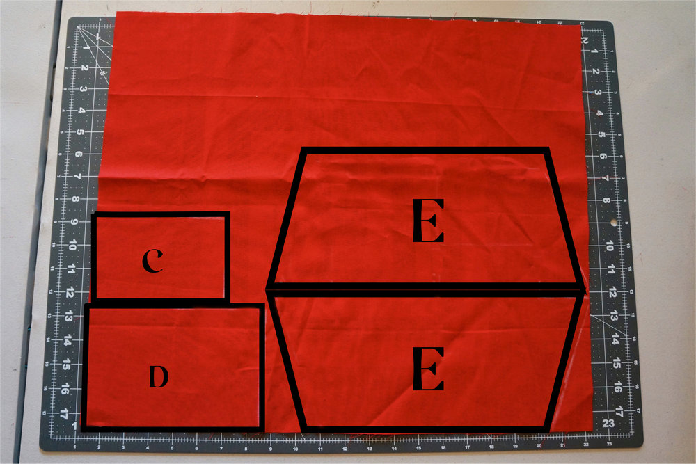This is the suggested layout for the slip pocket (E) and lining for brush flap (C) and brush holder (D).