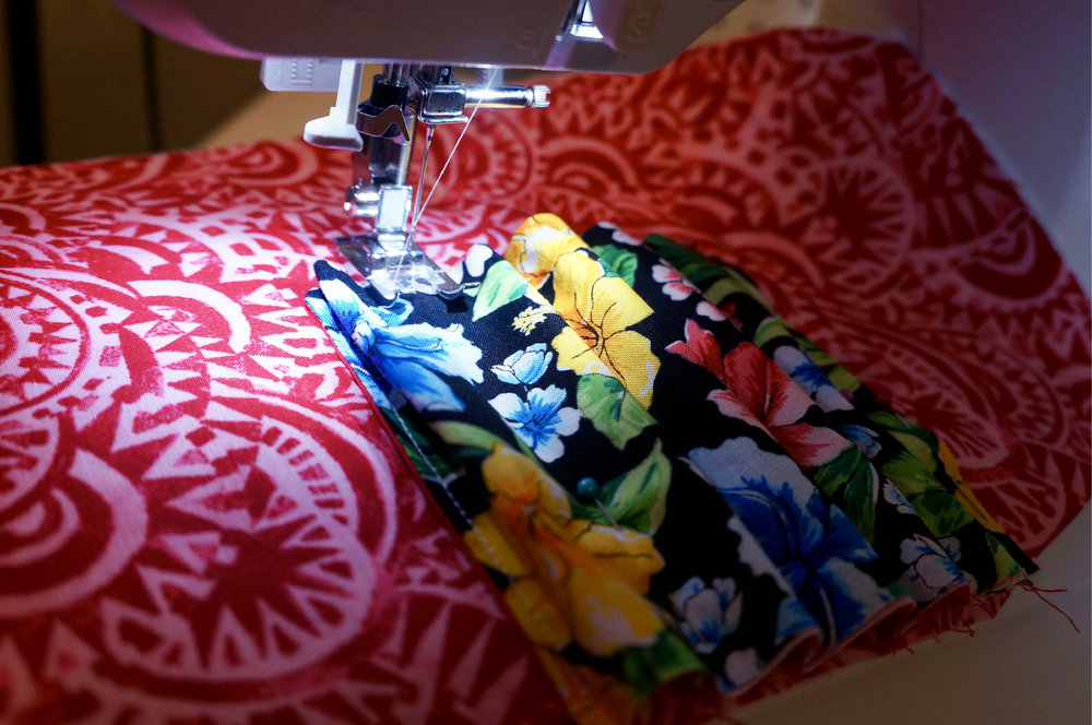 Sew where pinned. Making sure to leave the extra fabric as marked.