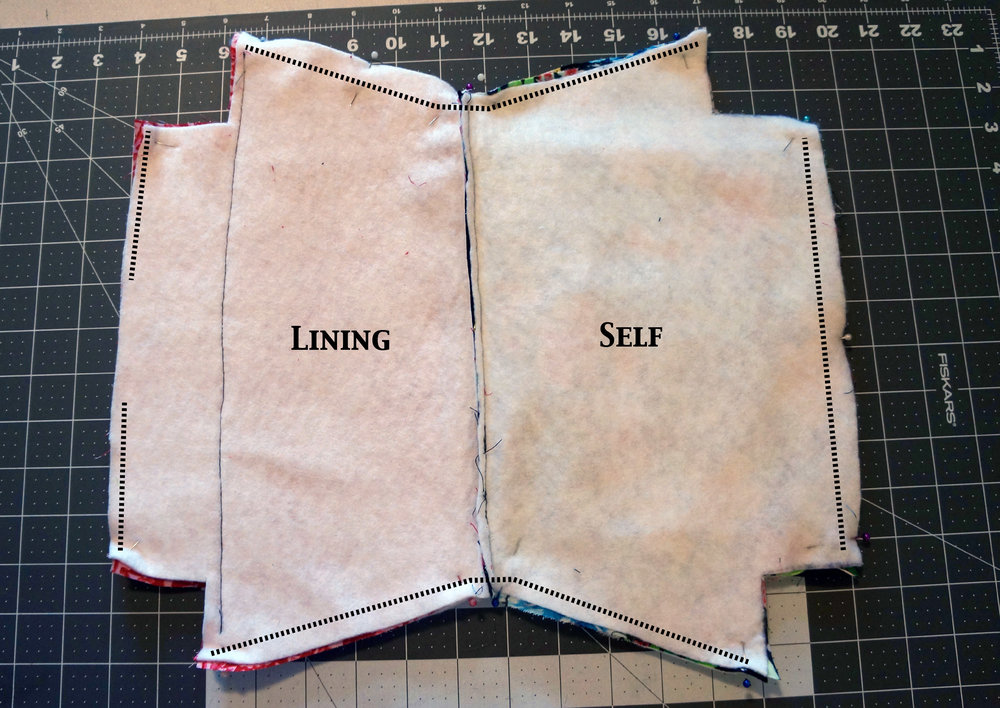 Sew seams as shown