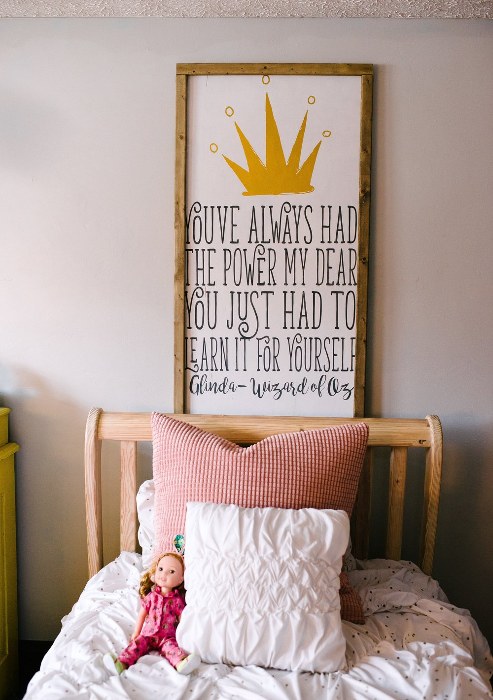 This sweet sign that hangs above Ava's bed holds a special story, Libby did the lettering designs & my talented friend Jenny (who is one of my helpers behind the sceen , she truly is a blessing & a gem ) her talented daughter who happens to be 12 too, hand drew the art for the gold tiara. And we all agree its so Ava .
