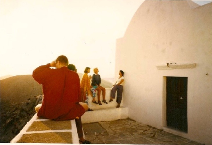 A former class enjoying the sunset together in the Kastro, the ancient area of Chora town.