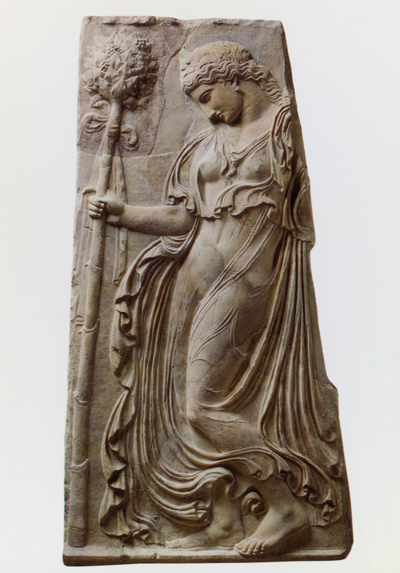 A Maenad, follower of Dionysus, carrying her Thyrsus wand