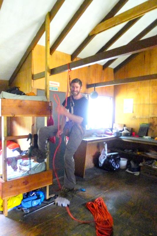 Practicing crevasse rescue in the hut!!