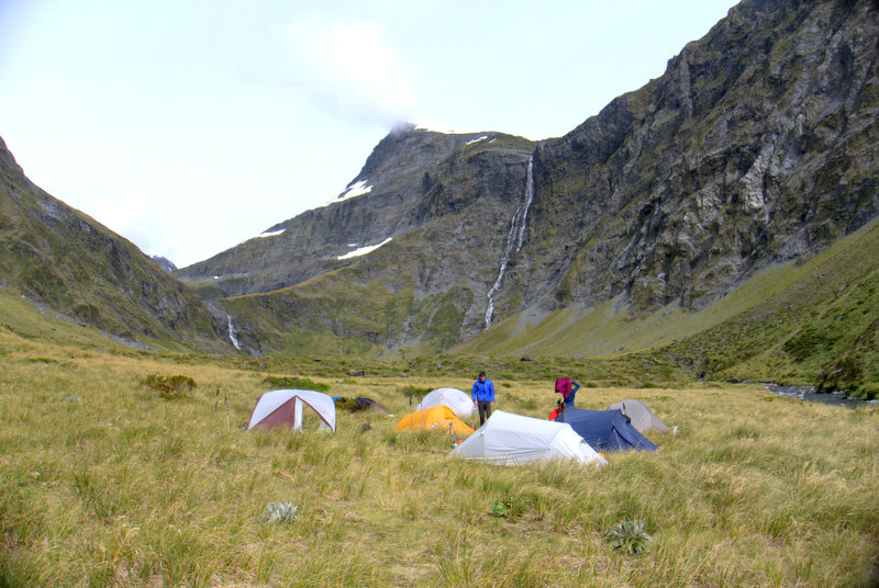 Our tent city at waterfall flats