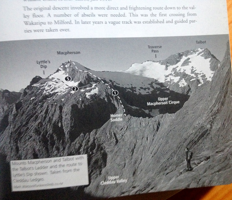 The route for the attempt up Macpherson over Homer Saddle